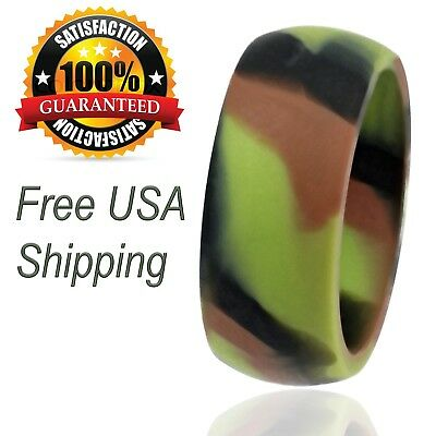 Silicone Wedding Ring for Men Camo Rubber Band by LiveLife (Single Pack)](Camo Ring)