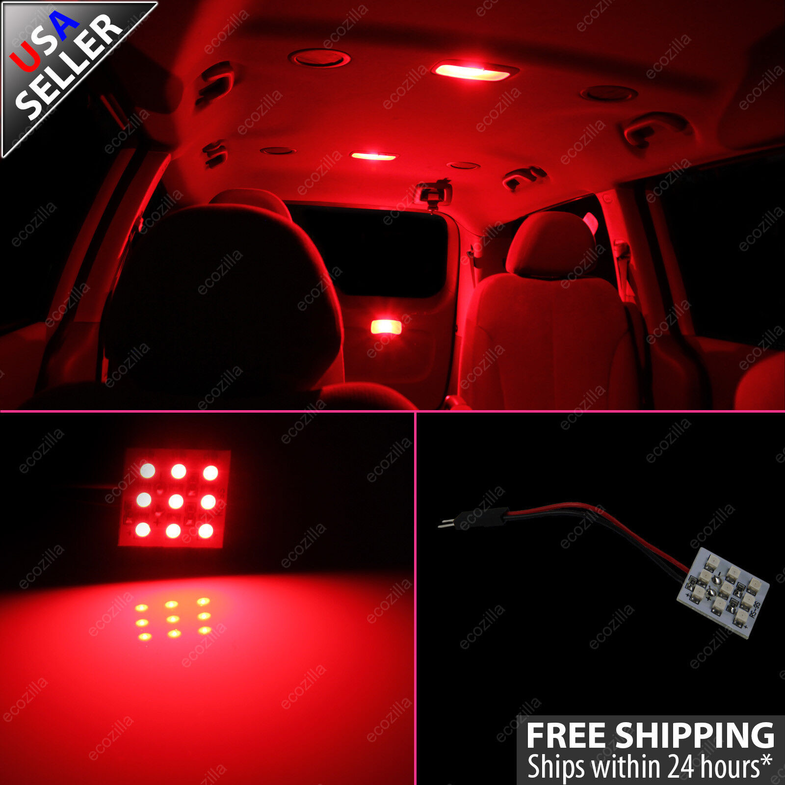 2x Red 9 Smd Led Panel Light For Interior Map Dome Step Door Trunk Lights Ebay