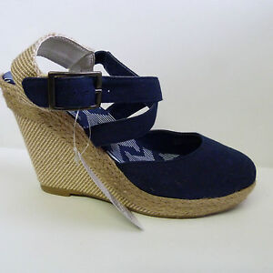 NEW LADIES BLUE OR RED MARKS AND SPENCERS CANVAS WEDGE HEELS STRAPPY SHOES 3 - 8