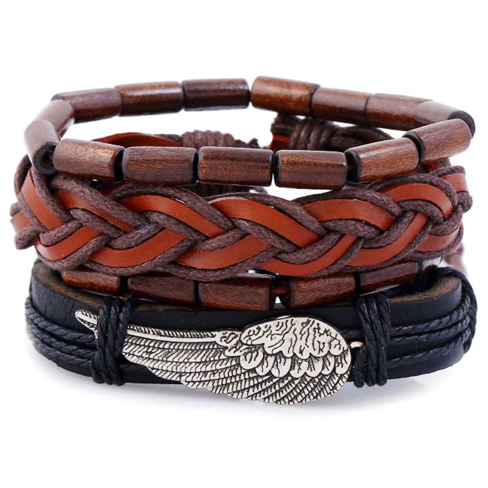 Tribal Wood Beads Angel Wing Leather Mens Womens Wristband Bracelet 4pcs Set Bracelets