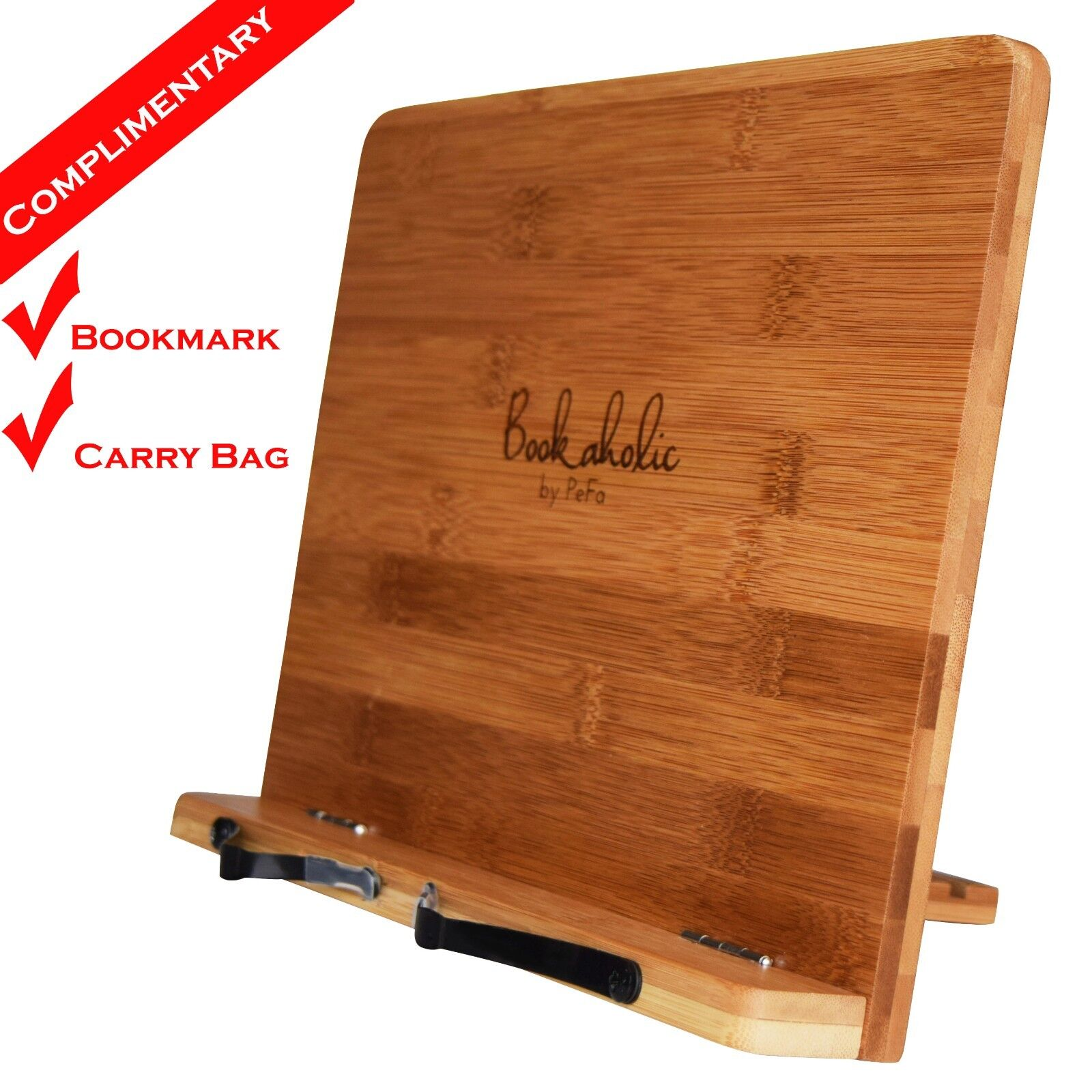 BOOKAHOLIC™ Book Stand Cookbook Holder - Bamboo Book Rest Reading Tablet Stand