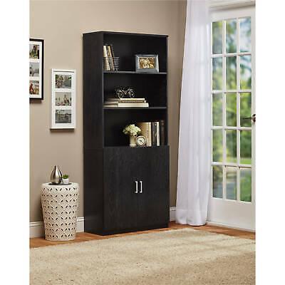3-Shelf Bookcase w/ Doors Bookshelf Storage Cabinet Shelf Furniture Home Office  Black 3 Shelf Bookcase
