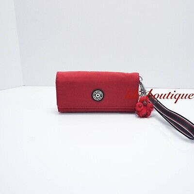 NWT New Kipling AC8538 RUBI Snap Long Wallet Wristlet Polyamide Cherry Red $42