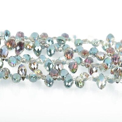 12mm Crystal NORTHERN LIGHTS AB Teardrop Briolette top drilled 50 beads bgl1696 Ab 12mm Beads