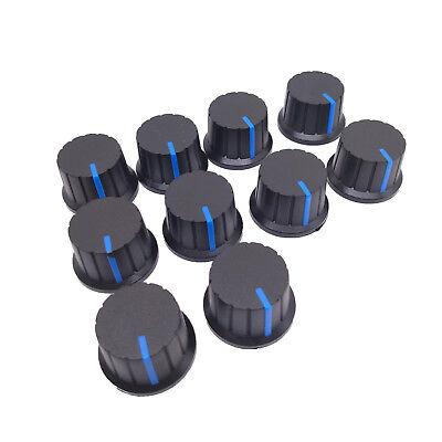 Us Stock 10pcs Hi-fi Cd Volume Tone Control Potentiometer Knob 6mm Black Blue