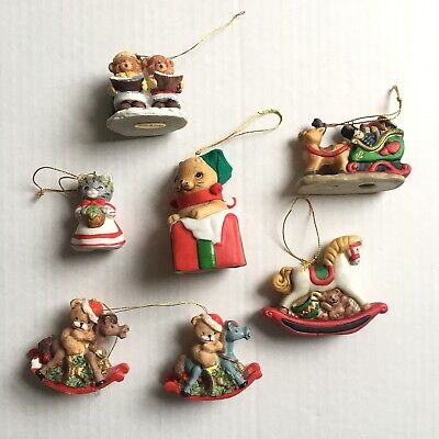 Vintage Christmas Tree Ornaments Ceramic Bear Rocking Horse Cat Sleigh Toys Lot
