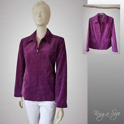 Damen Blazer ** Jäckchen Jackett Jacke Damenjacke Cord-Stoff  Gr.42 Lila - 200
