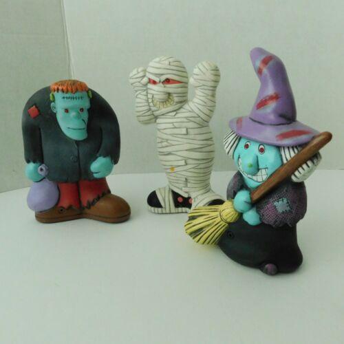 Halloween Decorations Lot of 3 Frankenstein Mummy Witch 1989 ATP Glowing Eyes