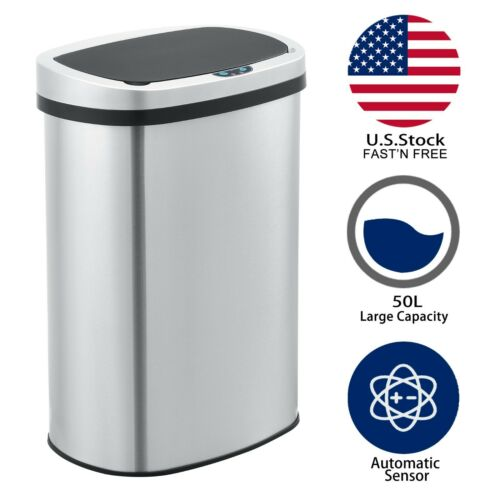 Innovaze 50L/13 Gal Stainless Touchless  Automatic Sensor Trash Can Kitchen