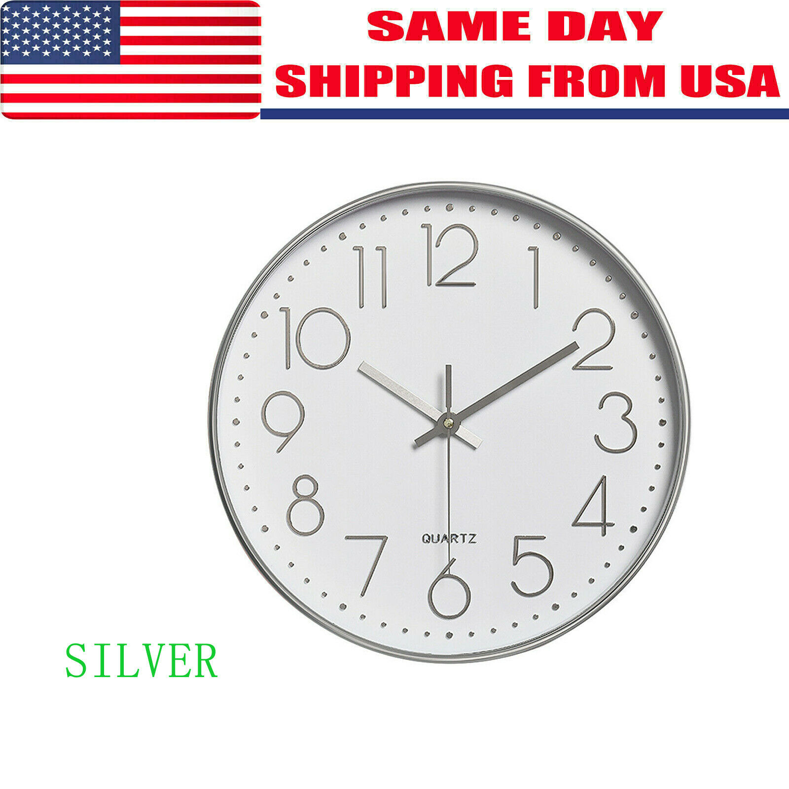 Non Ticking Wall Clock 12 Inch Round Silent Quartz Battery O