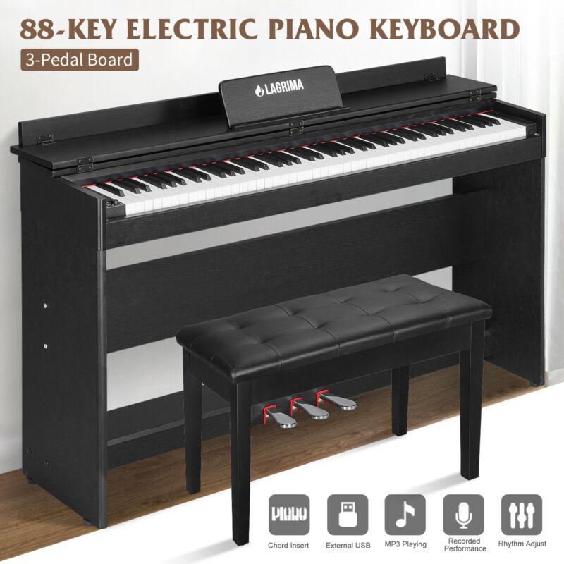 88 Key LCD Digital Electric Piano Keyboard w/ Bench 3 Pedal Board Adaptor Stand