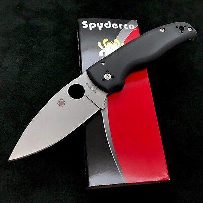 Spyderco Shaman C229gp Plain Edge Satin Blade Black G10 S30v  New And Authentic