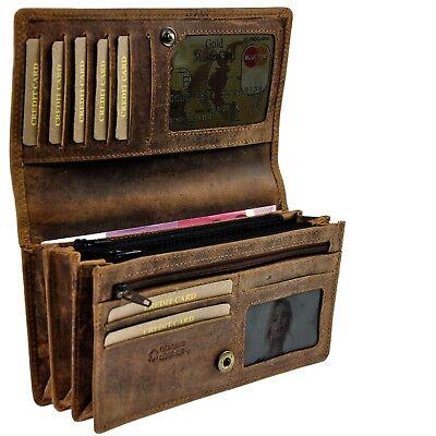 AMARI Portemonnaie XXL robustes Pull Up Rindleder 20 Fächer Geldbörse OPU6130A