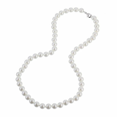 Elegant Simulated Pearl Necklace - Bridal Elegant 8mm Faux White Pearl Necklace 20 Inch - with Silver Plated Clasp