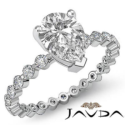 Pear Cut Diamond Engagement Prong Setting Anniversary Ring GIA F Color VS2 1.7Ct