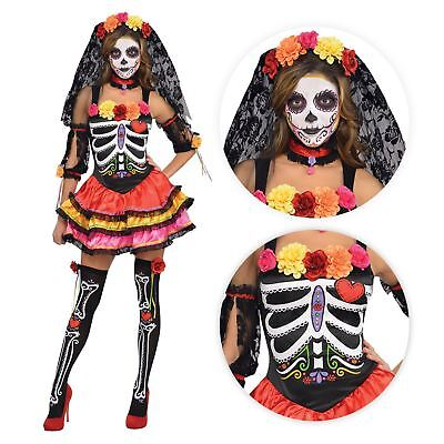 Damen Tag der Toten Senorita Sugar Halloween Skelett Maskenkostüm UK