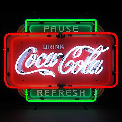 Neon Sign Drink Coca Cola Pause Refresh Coke lamp Soda Pop Fountain machine