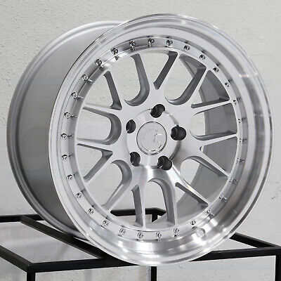 18x9.5 Aodhan DS06 DS6 5x114.3 15 Silver Machined Wheels Rims Set(4)