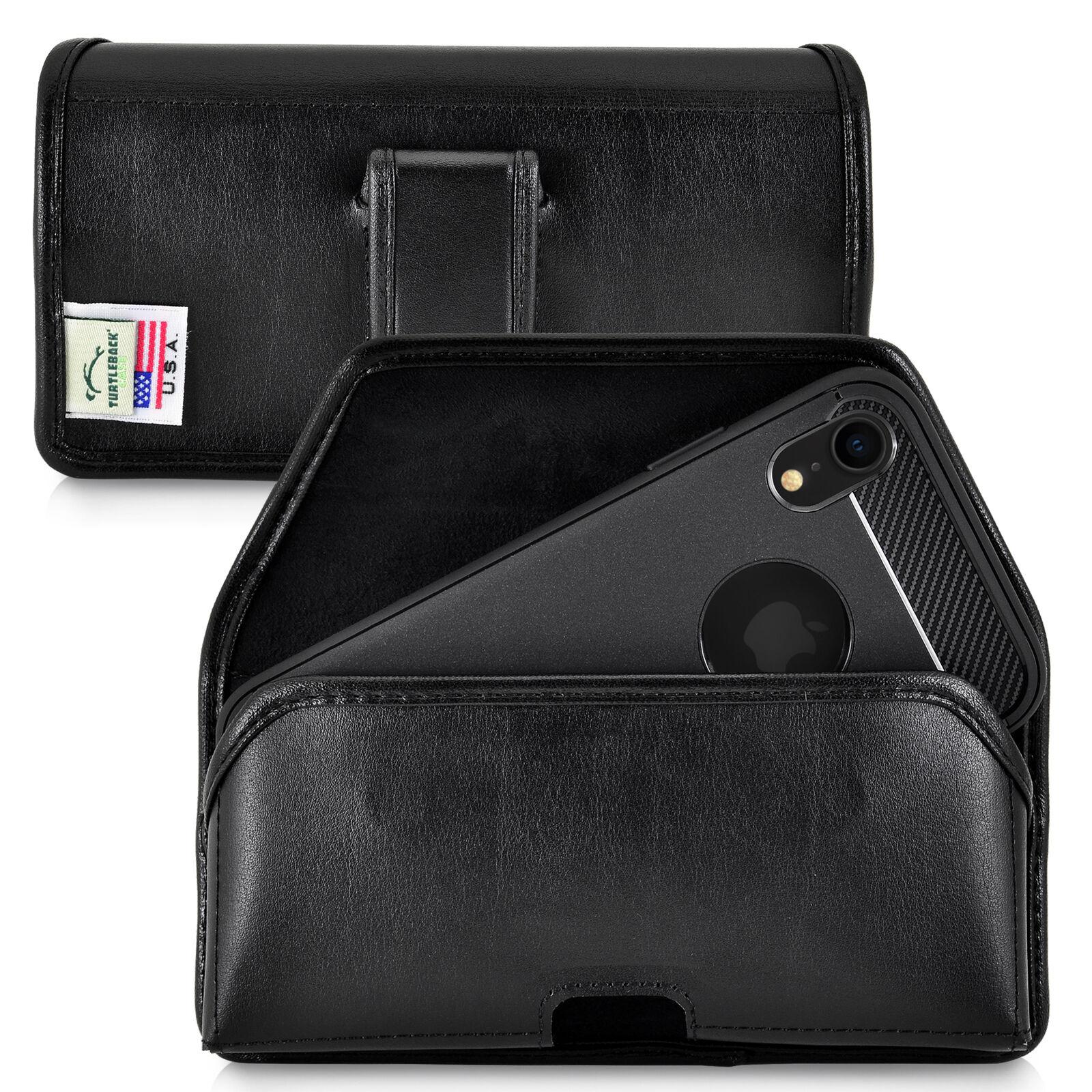 iphone-11-xr-turtleback-belt-holster-case-black-leather-executive-belt-clip