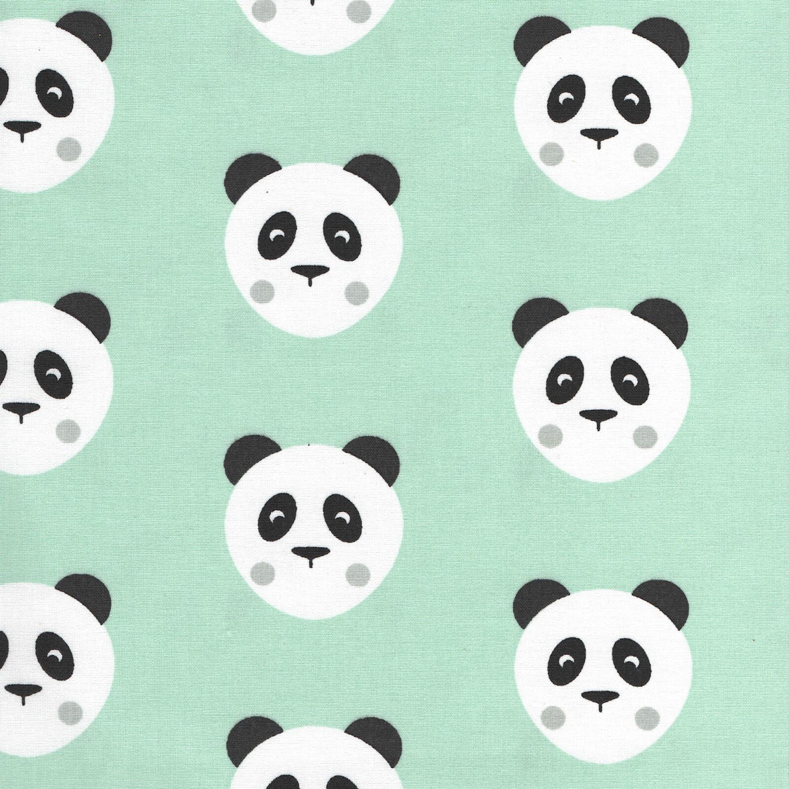 Bundle of Two Fat Quarters of Fabric Panda Pandas Theme Cotton /& Polycotton