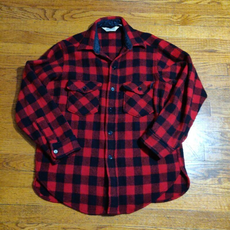 VTG L.L. Bean Maine Guide Shirt Wool Blend Red Buffalo Plaid Men