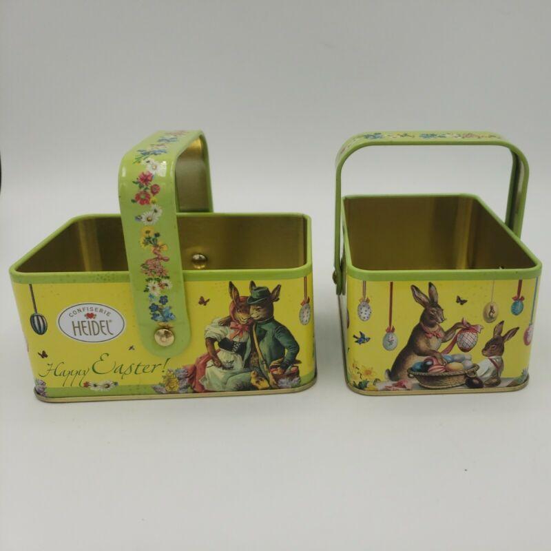 Heidel Easter Tins Basket Metal Handle Bunny Rabbit Bunnies Flowers Gift Germany