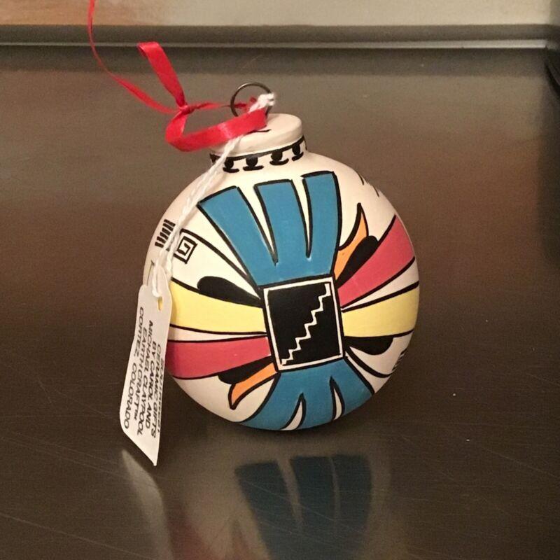 "Hopi ""Four Directions"" ceramic Christmas Ornament Sityatki design"