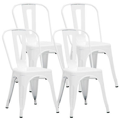 4 pcs Tolix Style Dining Side Chair Stackable Bistro Cafe Metal Stool Vintage Bistro Style Dining Chair