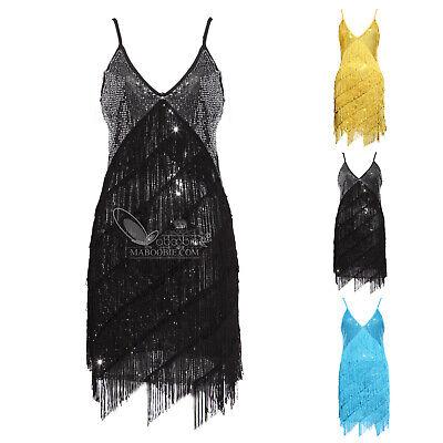 e Charleston Kostüm Kleid Flapper Fransen Gatsby Party Kleid (Gatsby Kleider Kostüme)