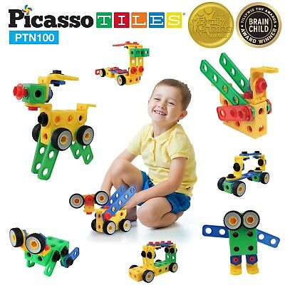 100 Piece Toy - PicassoTiles PTN100 100 Piece Kids Nuts and Bolts Construction Building Toy Set