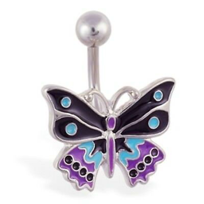 (BLACK, PURPLE & TURQUOISE BUTTERFLY BELLY RING)