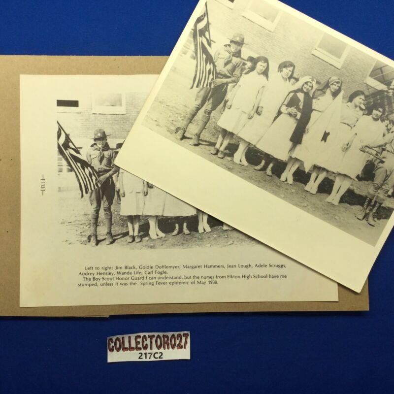 Boy Scout Vintage 1930 Boy Scout Honor Guard & Nurses Photo & Print Elkton, VA