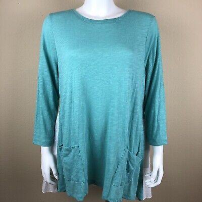 - LOGO Lori Goldstein Top Tunic Swiss Dot Ruffle Back 3/4 Sleeve Pockets Green XL