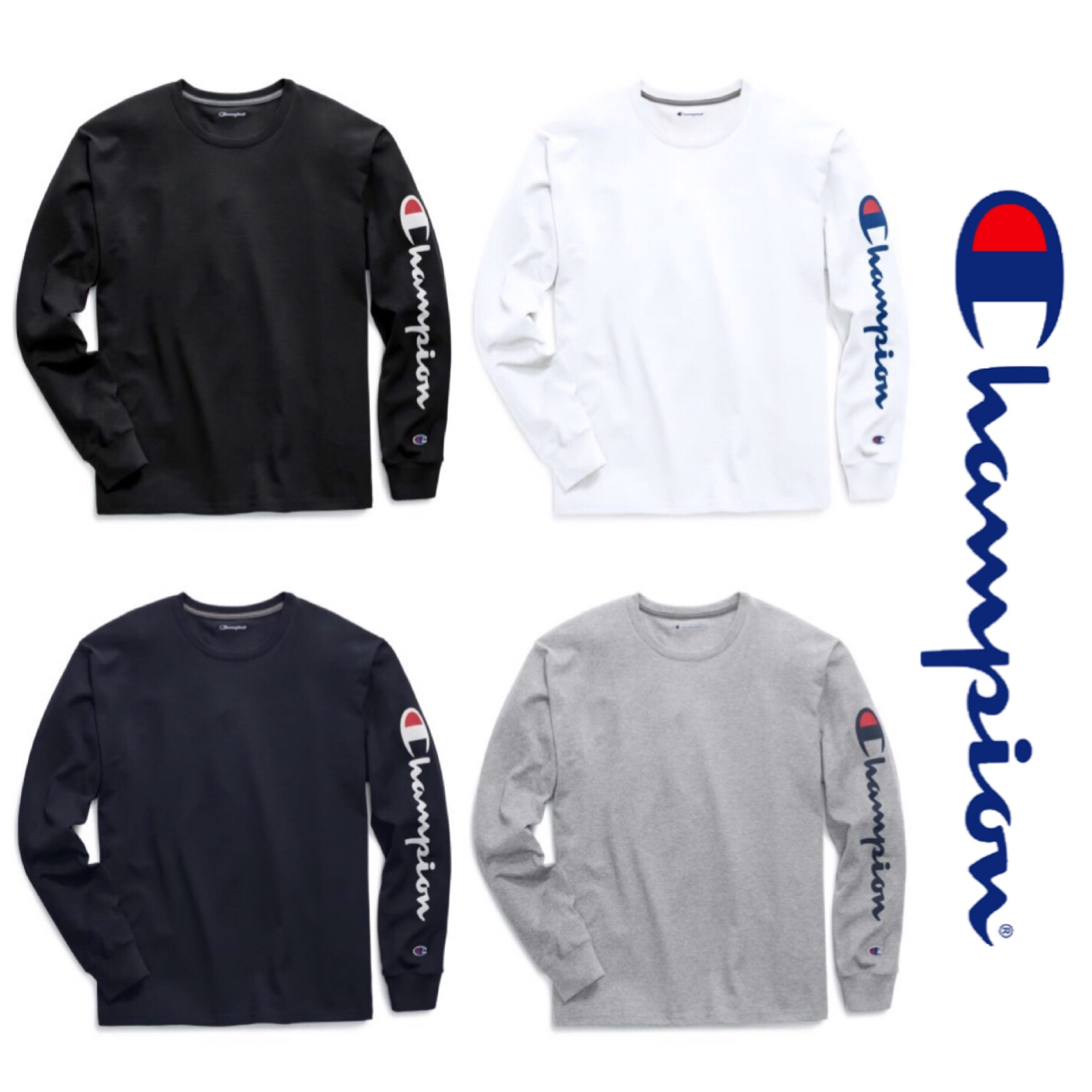 Изображение товара New Authentic Champion Men Jersey Sleeve Script Logo Long Sleeves T-Shirt GT78H