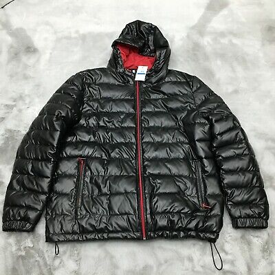 Cole Haan Signature Faux Leather Hooded Puffer Jacket Black Mens Size XL (Cole Haan Mens Faux Leather Puffer Coat)
