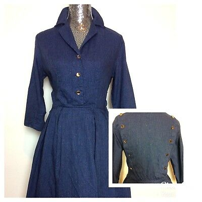 Vintage 50's 60's FASHION FROCK Wool Blend Blue Check Shirt Dress S/M
