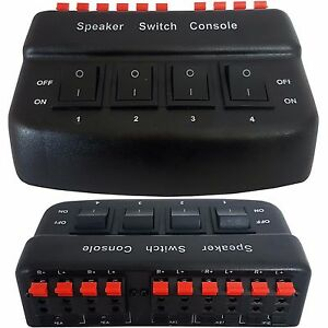 4 Port/Zone Speaker Selector Splitter Switch *200W 8 Ohm* Audio Distribution Box