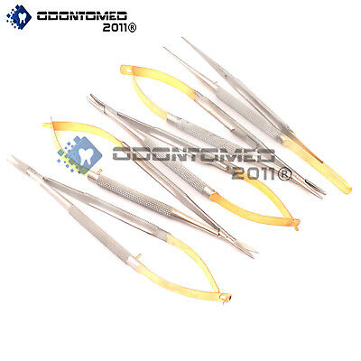 5 Castroviejo Micro Scissor Needle Holder Str Cvd Forceps Dental Eye Ey-008