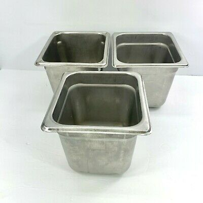 Carlisle 608166 Durapan Steam Table Pans Set Of 3 16 Size 6-inch Stainless Used