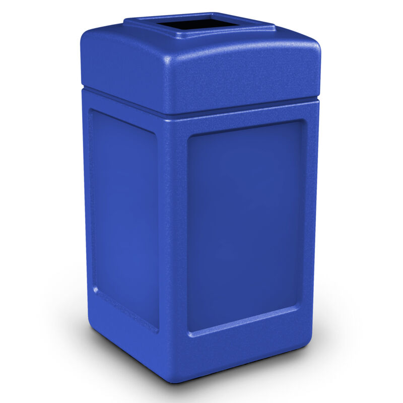 Commercial Zone 732104 Open-Top Square 42 Gallon Waste Trash Container, Blue