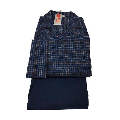 Geprüft Schlafanzug (Ragno Sport Schlafanzug Flanell Blau Geprüft 100% Baumwolle)