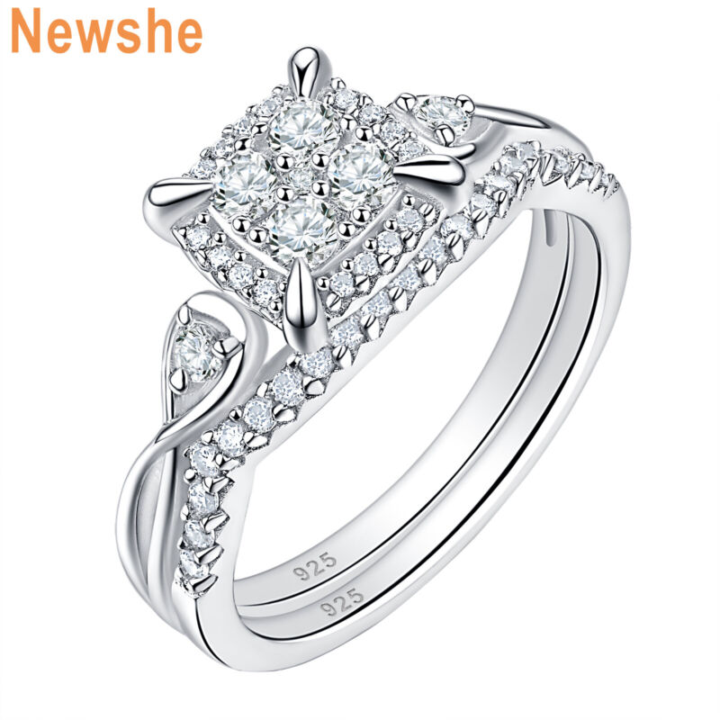 Newshe Sterling Silver Wedding Ring Set Round Princess Cluster Aaaa Cz For Women