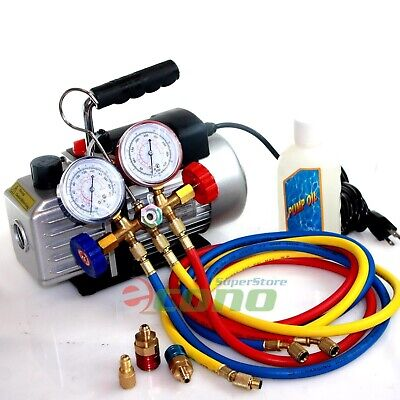 Deluxe R134a R12 R22 R502 Manifold Gauge Set & 2.5CFM Vacuum Pump 5ft HVAC Hoses