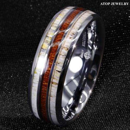 8mm Silver Tungsten Ring With Deer Antler Koa Wood Men Wedding Band Atop Jewelry