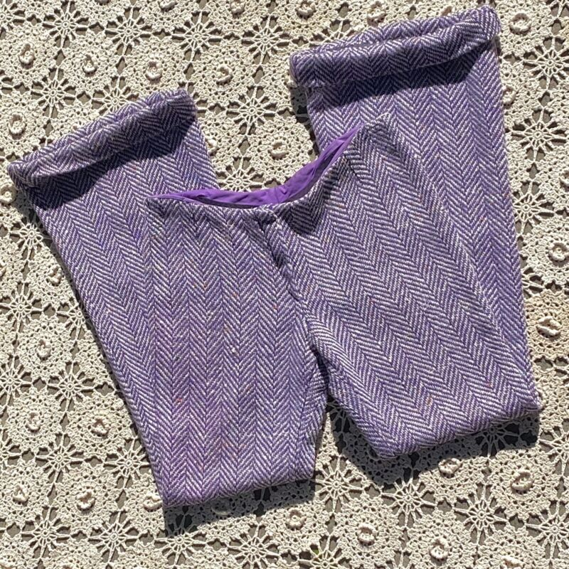 Vintage 1970s Bell Bottoms Pants Purple Wide Leg Pants Wool M Hippie Psychedelic