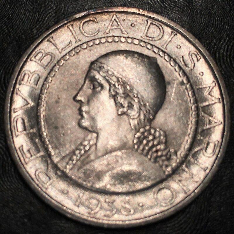 1938-R San Marino 5 Lira Superb Uncirculated- High Quality Scans #H770