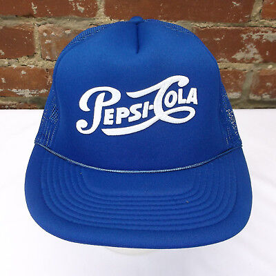 VTG Pepsi Cola Soda Pop Supreme Cap Blue Mesh Adjustable Snapback Trucker Hat