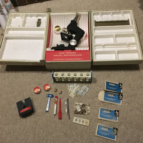 Vintage SkilCraft Microscope Lab Set with Functioning Microscope and Metal Box