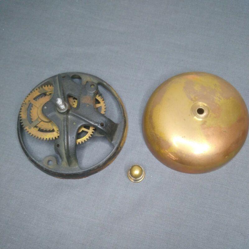 Sargent & Co. Brass Bell Wall Mount Vintage Clockwork