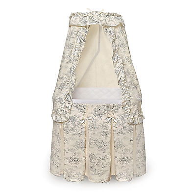 Badger Basket Majesty Baby Bassinet with Canopy Black Toile Bedding